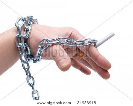 Mans hand with cigarettes on white bacground