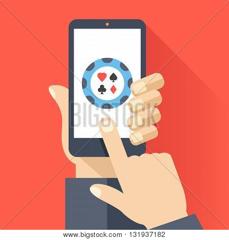 Hand holds smartphone with round poker chip icon on smartphone screen. Online gambling, casino, internet poker concept. Modern flat design for web banners, web sites, infographics. Vector illustration