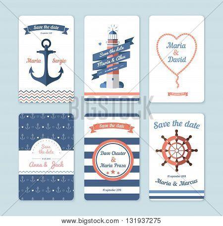 Wedding invitation card. Save the date sailor theme. Set invitation