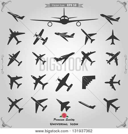 Vector airplane icons: passenger plane. Vector illustration