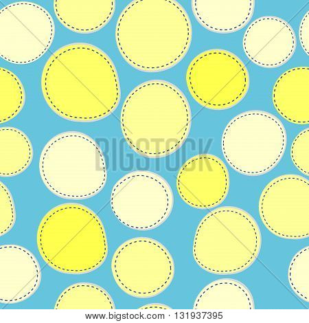 Background with sewed wellow round shapes, seamless pattern