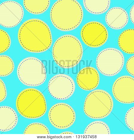 Seamless background with sewed yellow round shapes