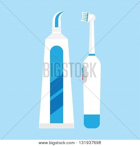 Tooth brush vector illustration. Electric Toothbrush isolated on blue background. Tooth brush vector icon illustration. Electric Toothbrush isolated vector. Tooth brush silhouette