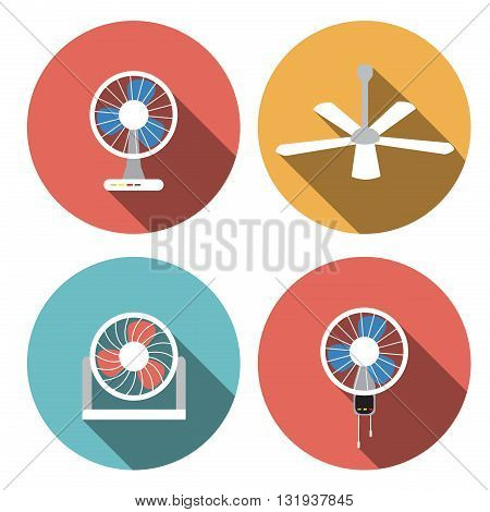 Set of fan icons in flat style vector object vector