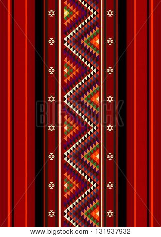 A Beautiful Zig Zag Colorful Triangles Traditional Handcrafted Vintage Rug