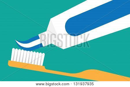 Brushing Teeth. Toothbrush and Toothpaste close up. extrude a toothpaste from a tube on a toothbrush. Teeth care concept.