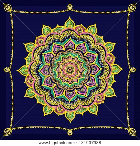Vector hand drawn doodle mandala. Ethnic mandala with colorful ornament. Isolated. Yellow pink green and blue colors.