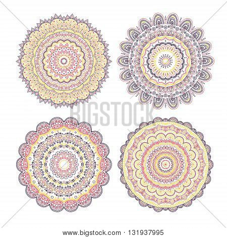 Vector set of hand drawn doodle mandala. Colorful mandala for your design. Yellow red violet brawn colors.