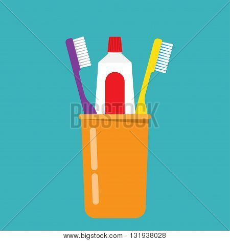 Toothbrush toothpaste in a glass vector illustration. Toothbrush isolated on blue background. Toothbrush vector icon illustration. Toothbrush isolated vector. silhouette