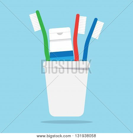 Three toothbrushes and toothpaste in a glass vector illustration. Toothbrush isolated on white background. Toothbrush vector icon illustration. Toothbrush isolated vector. silhouette