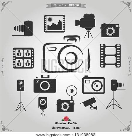 Photography icons and Camera Function Icons. Vector illustration