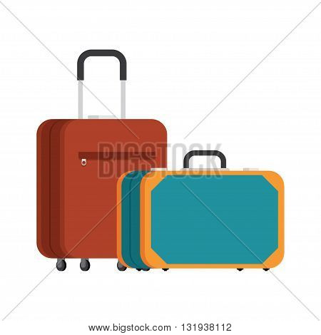 retro suitcase and a modern suitcase on wheels. Two suitcases. Suitcases for traveling and business trips. Vector.