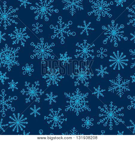 Seamless pattern with hand drawn doodle snowflake. Vector winter pattern. Blue snowflakes on dark background.