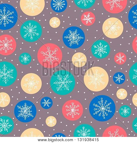 Seamless pattern with hand drawn doodle snowflake. Vector winter pattern with color circles. Red yellow green grey and white colors.