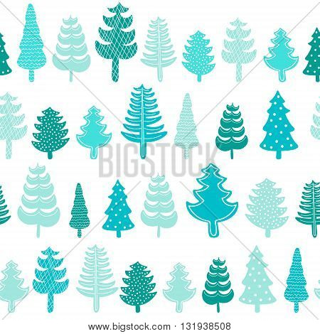 Spruce forest seamless pattern. Hand drawn winter trees with ornament. Vector. Green colors on white background.