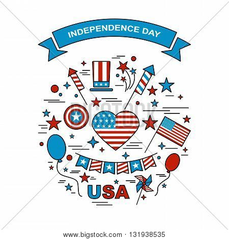 A set of design elements for Independence Day. Vector icons for 4ht of July. Festive set to work. A symbol of freedom and independence. Set of American flag fireworks ribbons windmills and hat.