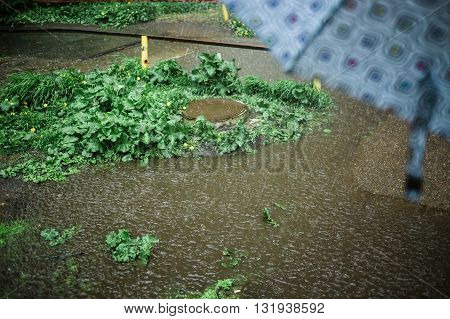 Composition of puddle, wet grass and metal manhole with umbrela in foreground during heavy rain. Bad weather concept