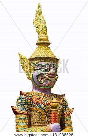 Giant of thai temple on the color background (Black and white)