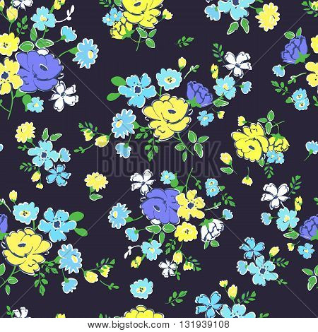 Abstract seamless pattern with isolated blue and yellow flowers. Vector illustration.
