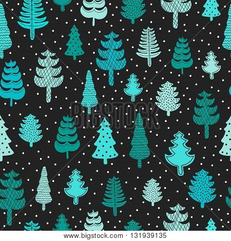 Spruce forest seamless pattern. Hand drawn winter trees with ornament. Vector. Green colors on black background.