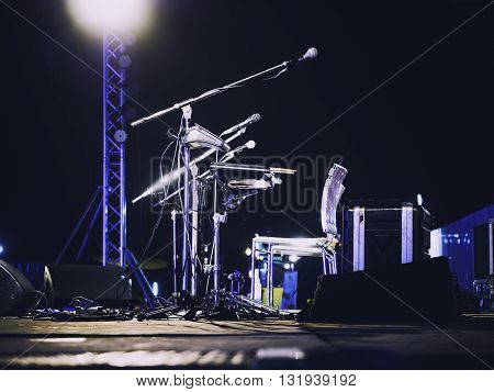 Music Festival Event Microphone on Concert Stage Live music