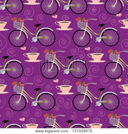 Romantic seamless pattern from  bicycle with a basket of flowers and with cap of flavored coffee on the violet background. Can be repeated and scaled to any size without  loss of resolution