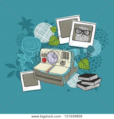 Old camera and floral background. Vector illustration.