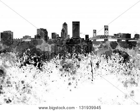 Jacksonville skyline in artistic abstract black watercolor