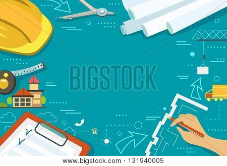 Vector illustration of working table architect, flat style