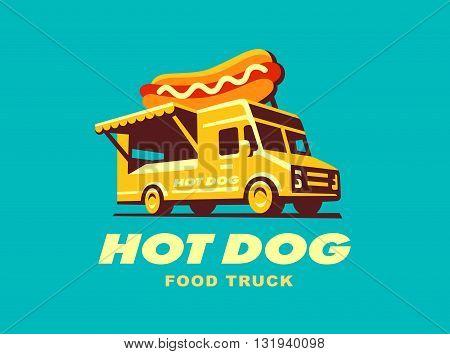 Street Food Truck concept - vector illustration, log odesign