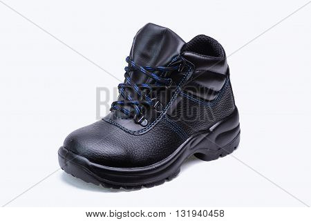One high leather safety boots for worker on white background