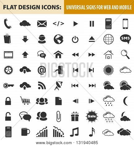 Web and mobile flat design icons elements buttons. Signs for website designs and business projects. Vector illustration