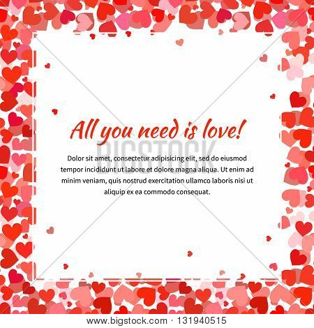 Cute template with many red hearts and text space square illustration