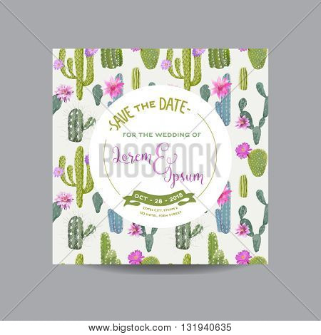 Save the Date Card. Tropical Cactus. Wedding Card. Invitation Card. Vector