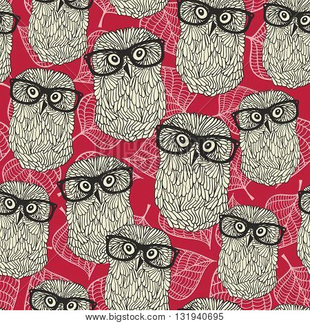 Seamless pattern with owls on the leaves background. Vector illustration of smart animal.