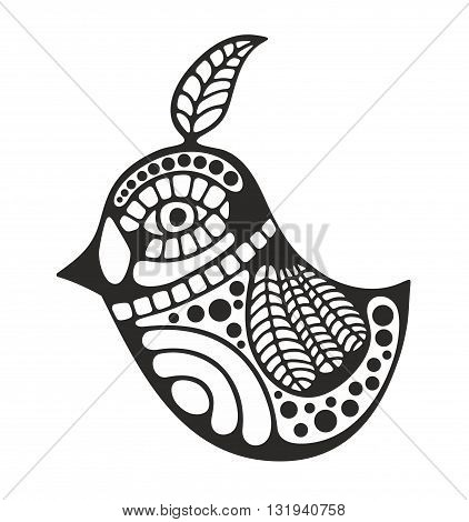 Black and white bird for coloring. Vector illustration.