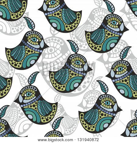 Artistic pattern with colorful retro birds. Vector background.