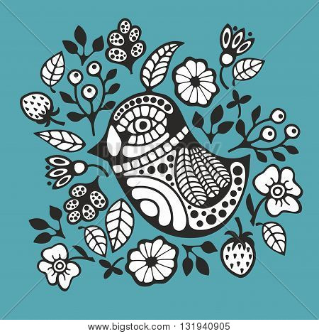 Black and white bird and flowers. Vector illustration for coloring.