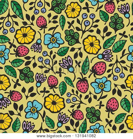 Beautiful floral pattern. Seamless vector background for summer mood.