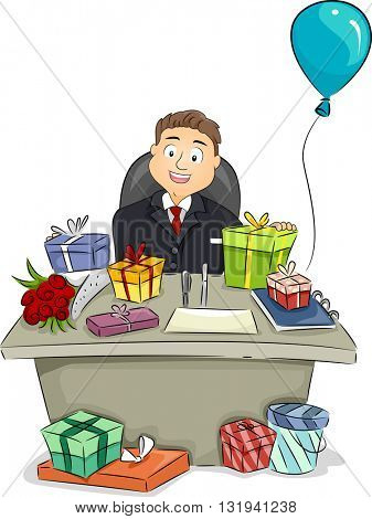 Illustration of a Businessman Sitting Behind a Table Full of Presents