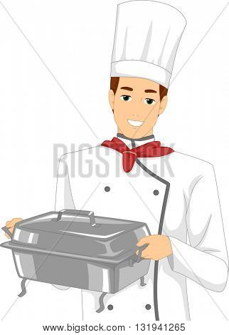 Illustration of a Male Chef Carrying a Chafing Dish