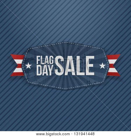 Flag Day Sale Banner with Ribbon and Shadow. Vector Illustration