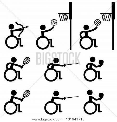 Disable Handicap Sport icons archery basketball tennis fencing and table tennis