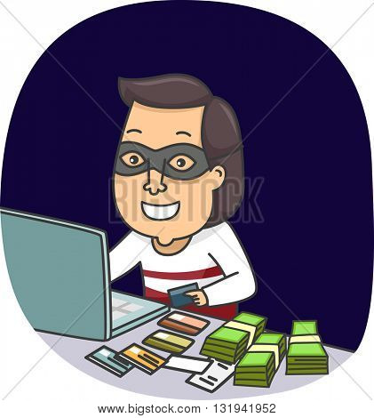 Illustration of an Identity Thief Hiding Behind a Computer