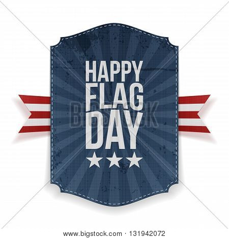 Happy Flag Day Label with Ribbon and Shadow. Vector Illustration