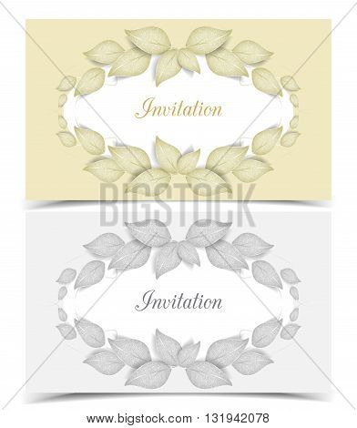 Two vector leaves greeting card, leaf design