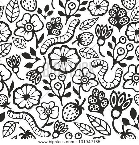 Black and white seamless pattern for coloring. Vector illustration of ground in the garden.