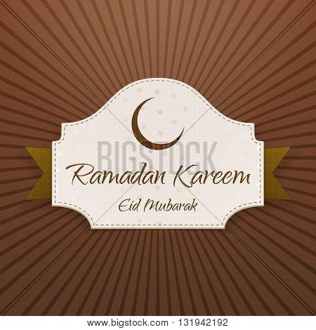 Ramadan Kareem Eid Mubarak Card with Ribbon and Shadow. Vector Illustration