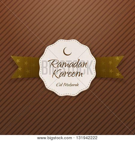 Ramadan Kareem Eid Mubarak Label with Ribbon and Shadow. Vector Illustration