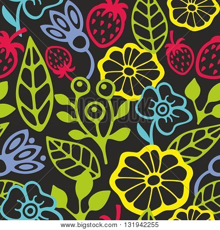 Seamless pattern with plants silhouettes. Vector illustration of summer.